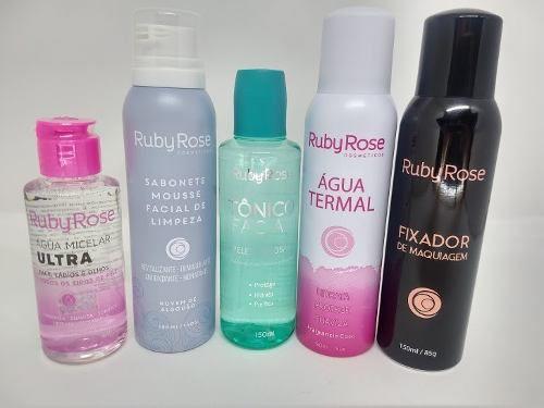 Kit Maquiagem Ruby Rose Tratamento Fixador Água Termal