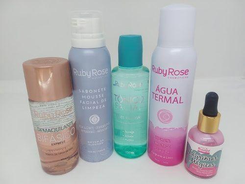 Kit Maquiagem Ruby Rose Tratamento Demaquilante Água Termal