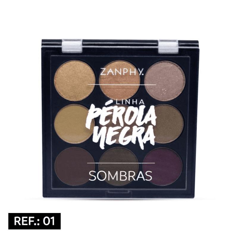PALETA DE SOMBRAS 9 CORES REF: 01 - PÉROLA NEGRA