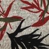 Estampado cinza com folhas vermelhas, verdes e pretas