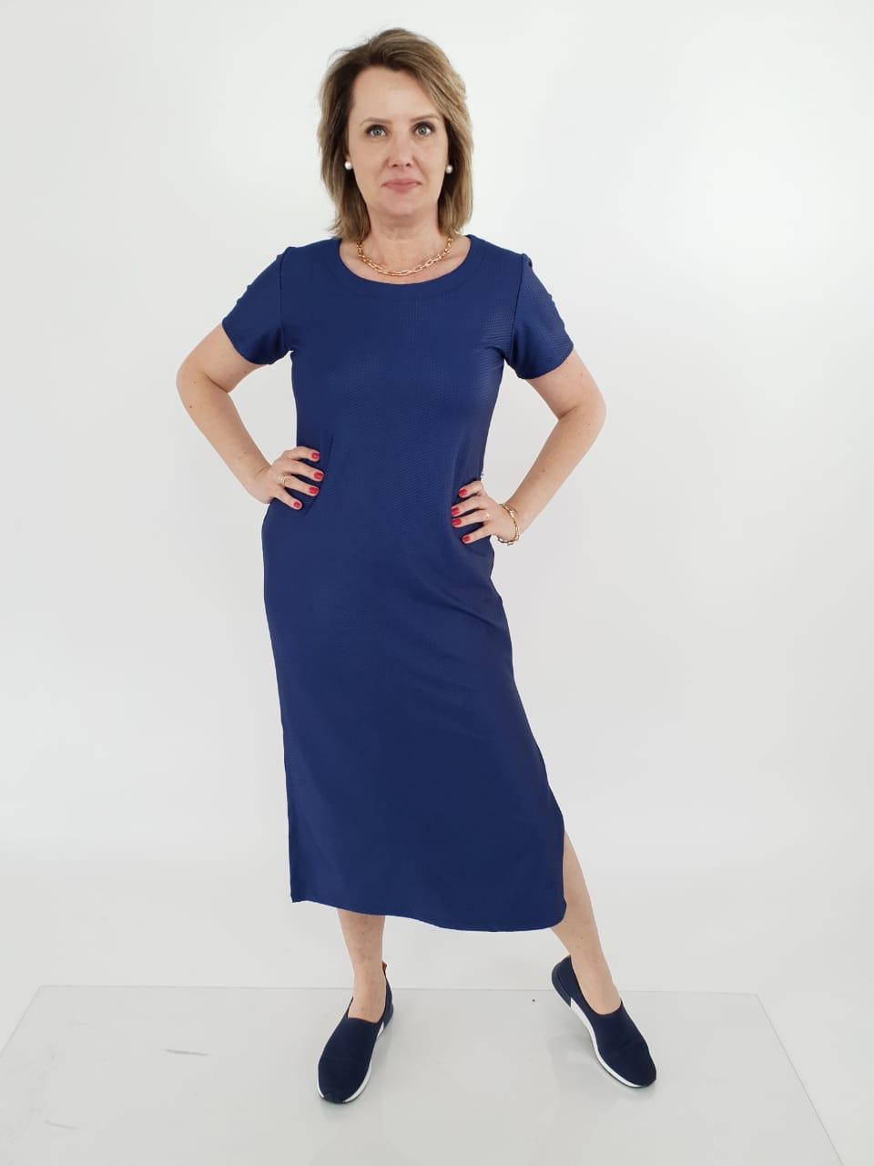 Vestido Midi Telma Lycra Couro
