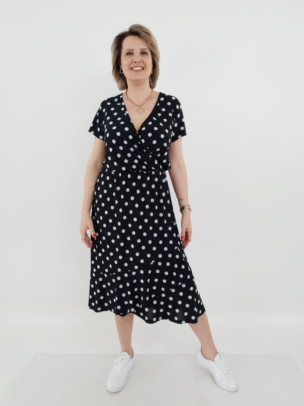 Vestido Sandra Midi Liganete Poá