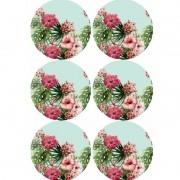 Painel Sousplat Bellopano - Floral fundo Acqua - 6 peças