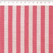 Tecido de Linho com Algodão  - Listras Rosa - Coleção Le Petit  - Preço de 50 cm X 1,40 cm