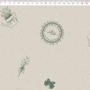 Tecido de Linho com Algodão  - Regadores e Flores Verde - Fundo Bege - Coleção Le Petit  - Preço de 50 cm X 1,40 cm
