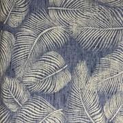 Tecido de Linho Folhas - Fundo Azul Jeans - Preço de 50 cm X 1,40 cm