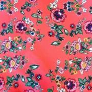 Tecido Exclusivo Bellopano Floral Coral  - Dublado - 50 cm x 1,50 cm