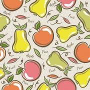 Tecido Tricoline Apple Pear - Fundo Bege - Modern Kitchen - Preço de 50 cm X 1,50 cm
