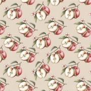 Tecido Tricoline Digital Apple Branch - Fundo Nude - Coleção Anita Catita - Red Blossom - Preço de 50 cm X 1,50 cm