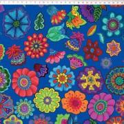 Tecido Tricoline Digital Floral Grande - Fundo Azul - Coleção Sandias Flowers  - 50 cm x 1,50 cm