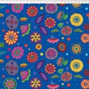 Tecido Tricoline Digital Floral Médio  - Fundo Azul  - Coleção Sandias Flowers  - 50 cm x 1,50 cm