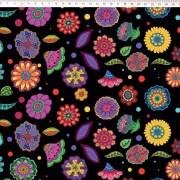 Tecido Tricoline Digital Floral Médio - Fundo Preto - Coleção Sandias Flowers  - 50 cm x 1,50 cm