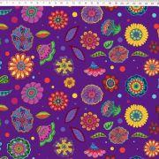 Tecido Tricoline Digital Floral Médio - Fundo Roxo- Coleção Sandias Flowers  - 50 cm x 1,50 cm