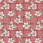 Tecido Tricoline Digital Red Apple Blossom - Fundo Vermelho - Coleção Anita Catita - Red Blossom - Preço de 50 cm X 1,50 cm