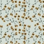 Tecido Tricoline Digital Tiny Yellow Branch - Fundo Verde Claro - Coleção Anita Catita - Red Blossom - Preço de 50 cm X 1,50 cm