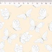 Tecido Tricoline Estampa Borboletas - Fundo Amarelo claro - Coleção Marias do Brasil - Preço de 50 cm X 1,50 cm