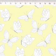 Tecido Tricoline Estampa Borboletas - Fundo Amarelo - Coleção Marias do Brasil - Preço de 50 cm X 1,50 cm