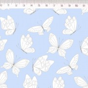 Tecido Tricoline Estampa Borboletas - Fundo Azul - Coleção Marias do Brasil - Preço de 50 cm X 1,50 cm
