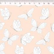 Tecido Tricoline Estampa Borboletas - Fundo Rosa - Coleção Marias do Brasil - Preço de 50 cm X 1,50 cm