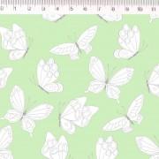 Tecido Tricoline Estampa Borboletas - Fundo Verde - Coleção Marias do Brasil - Preço de 50 cm X 1,50 cm