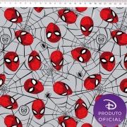 Tecido Tricoline Estampa Homem Aranha - Fundo Cinza - 50 cm x 1,50 cm