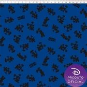 Tecido Tricoline Estampa Mickey Mouse   - Fundo Azul - 50cm x 150 cm