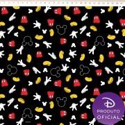 Tecido Tricoline Estampa Mickey Mouse   - Fundo Preto - 50cm x 150 cm