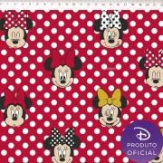 Tecido Tricoline Estampa Minnie Mouse Poá   - Fundo Vermelho - 50cm x 150 cm