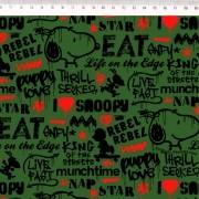 Tecido Tricoline Estampa Snoopy  - Fundo Verde Militar - 50cm x 150cm
