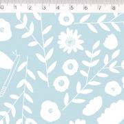Tecido Tricoline Flores - Fundo Azul Claro - Coleção Pequeno Quintal - 50 cm x 1,50 cm