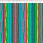 Tecido Tricoline Geométricos Listrado - Fundo Verde - Coleção Renata Blanco - 50 cm x 1,50 cm
