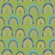 Tecido Tricoline Green Over The Rainbow - Fundo Verde - Coleção Over The Rainbow - Preço de 50 cm X 1,50 cm