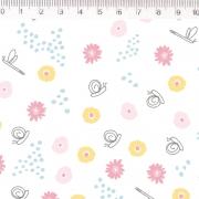 Tecido Tricoline Libelulas - Fundo Branco - Coleção Pequeno Quintal - 50 cm x 1,50 cm