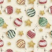 Tecido Tricoline Natal Estampa Bolas Natalinas - Preço de 50 cm X 1,50 cm