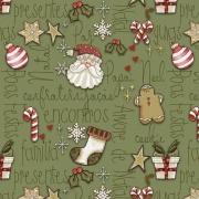 Tecido Tricoline Natal Estampa Mini Elementos  - Fundo Verde -  Preço de 50 cm X 1,50 cm