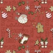 Tecido Tricoline Natal Estampa Mini Elementos  - Fundo Vermelho -  Preço de 50 cm X 1,50 cm
