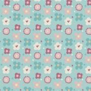 Tecido Tricoline Rose Buttons - Fundo Azul - Coleção Over The Rainbow - Preço de 50 cm X 1,50 cm