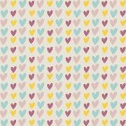 Tecido Tricoline Rose Hearts - Fundo Bege - Coleção Over The Rainbow - Preço de 50 cm X 1,50 cm