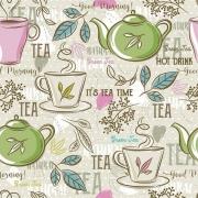 Tecido Tricoline Tea Time - Fundo Bege - Modern Kitchen - Preço de 50 cm X 1,50 cm