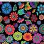 Tecido Tricoline Digital Floral Grande - Fundo Preto - Coleção Sandias Flowers  - 50 cm x 1,50 cm