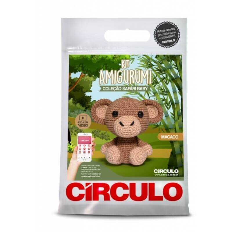 Kit Amigurumi - Macaco - Coleção Safári Baby