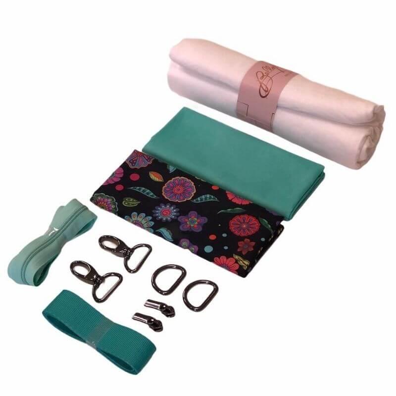 Kit Necessaire com Material - Floral Preto + Video Aula