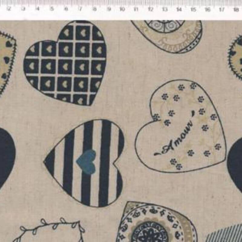 Tecido de Linho com Algodão  - Corações Azul - Coleção Le Petit  - Preço de 50 cm X 1,40 cm
