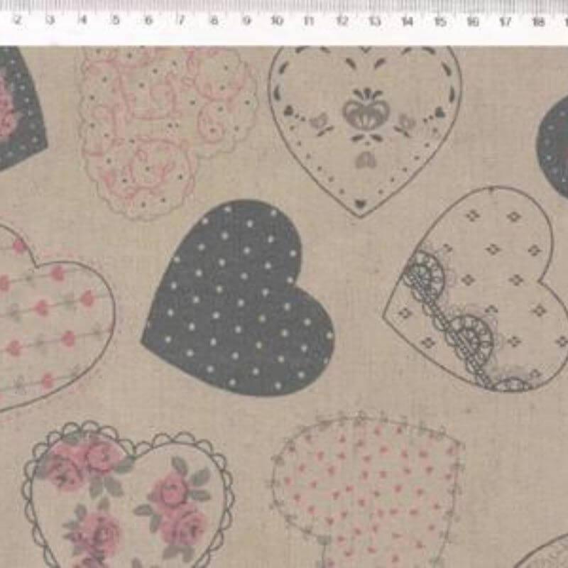 Tecido de Linho com Algodão  - Corações Rosa e Cinza - Coleção Le Petit  - Preço de 50 cm X 1,40 cm