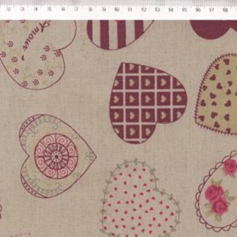 Tecido de Linho com Algodão  - Corações Bordô - Coleção Le Petit  - Preço de 50 cm X 1,40 cm