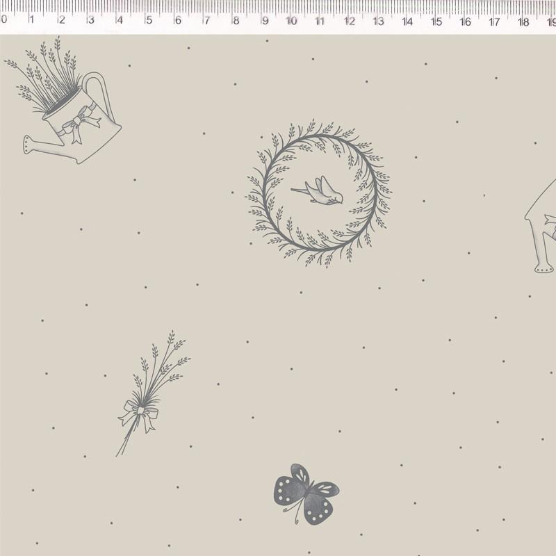 Tecido de Linho com Algodão  - Regadores e Flores Cinza - Fundo Bege - Coleção Le Petit  - Preço de 50 cm X 1,40 cm