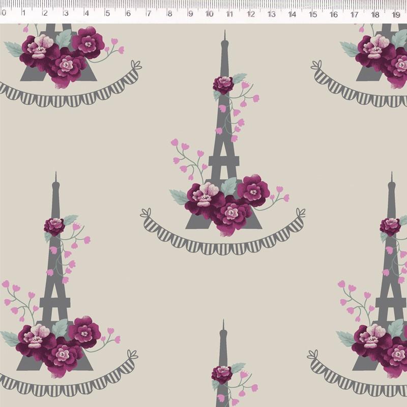 Tecido de Linho com Algodão  - Torre Eiffel - Fundo Bege - Coleção Le Petit  - Preço de 50 cm X 1,40 cm