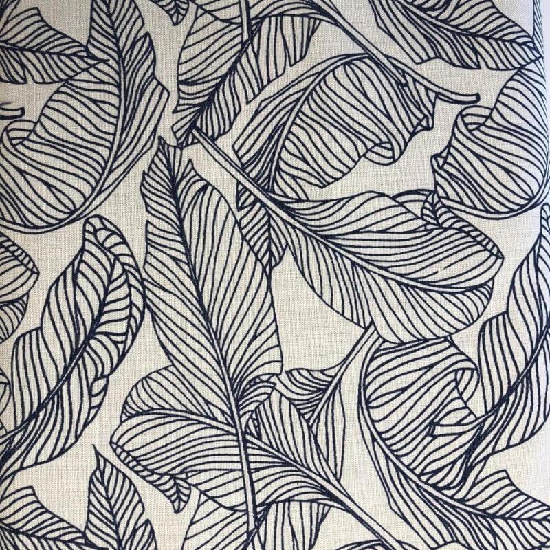 Tecido de Linho Folhas - Fundo Cru - Preço de 50 cm X 1,40 cm