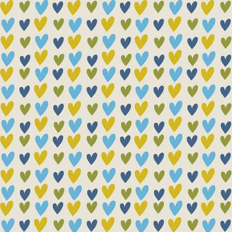 Tecido Tricoline Blue Hearts - Fundo Bege - Coleção Over The Rainbow - Preço de 50 cm X 1,50 cm