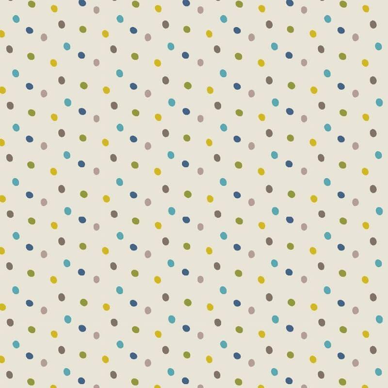 Tecido Tricoline Blue Multi Dot - Fundo Bege - Coleção Over The Rainbow - Preço de 50 cm X 1,50 cm